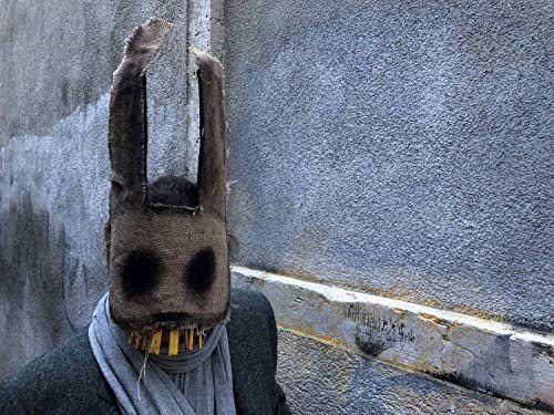 Scary Paper Mache Mask - Creepy Bunny Mask - Scary Burlap