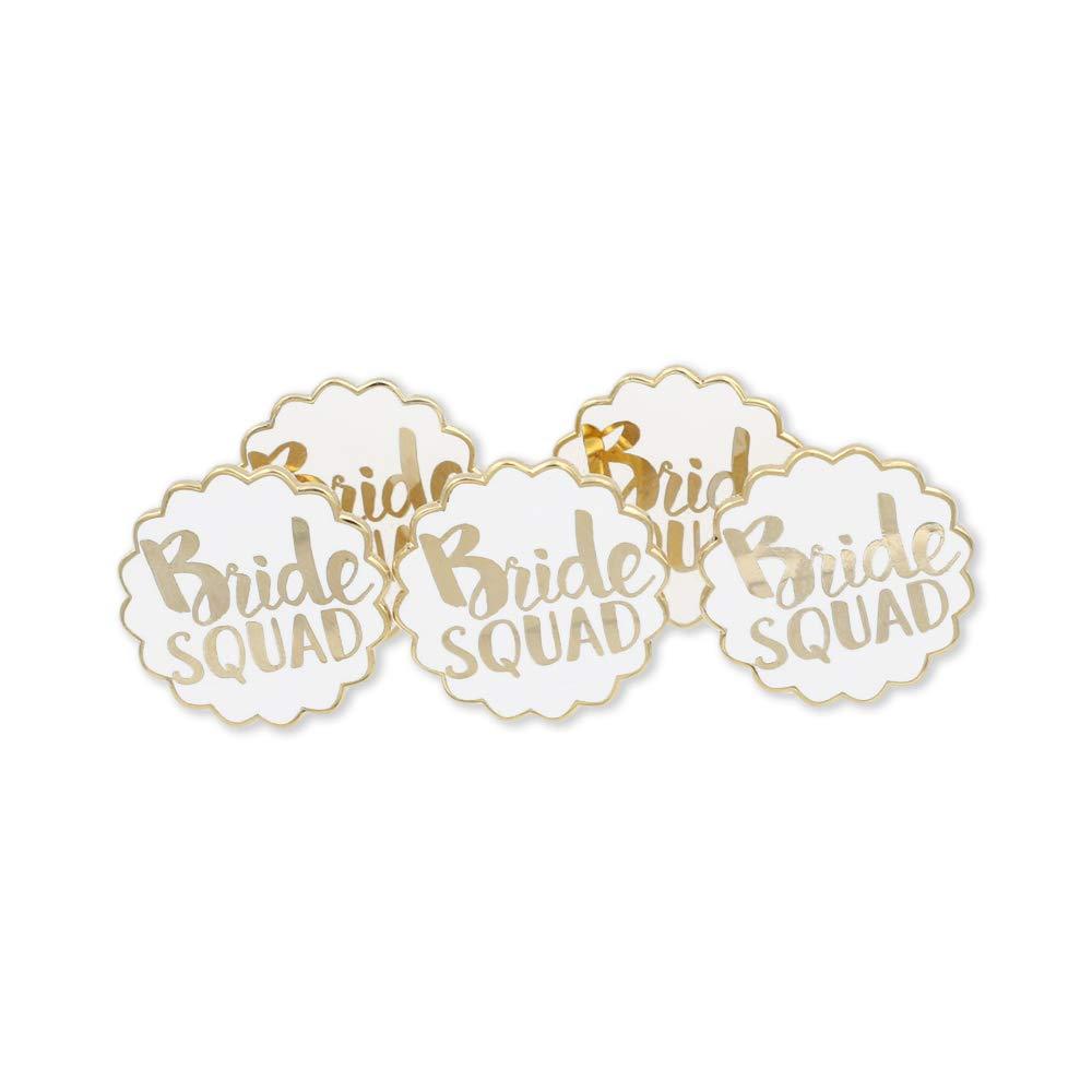 WIZARDPINS Bridesmaids Team Bride Squad Wedding Hard Enamel Lapel Pin Set– 5 Pins