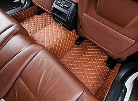 Custom Car Floor Mats Fit for BMW 4 Series F33 F32 420i 425i 428i 430i 435i 440i 2014-2017 Full Coverage All Weather Protection Waterproof Non-Slip Leather Liner Set Brown