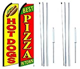 Hot Dogs Best Pizza In Town King Swooper Flag Sign With Complete Hybrid Pole set - Pack of 2