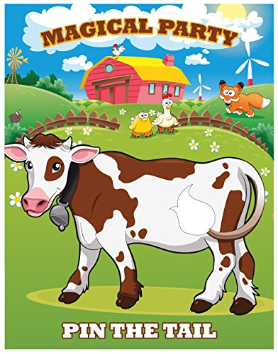 LARZN Pin the Tail on the Cow , Party Favor Games , Party Supplies ,New, Extra Tails ,Pin the Tail -
