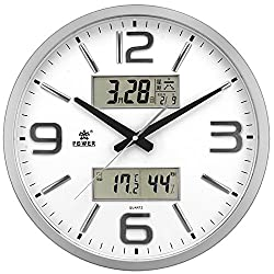Y-Hui Quartz Watches Luminous Living Room With A Calendar Clock Mute Calendar Battery Wall Clock Large Numbers, The Other 16-Inch Dual Lcd Silver Plated - No Night Light
