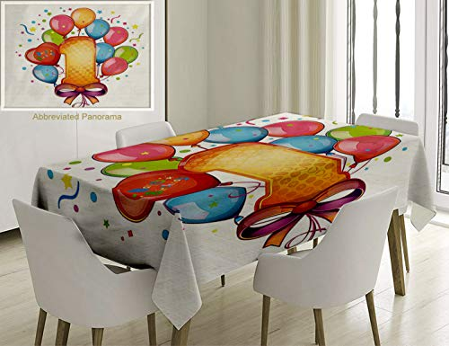 Unique Custom Cotton and Linen Blend Tablecloth 1St Birthday Decorations Vintage Theme Kids First Party with Balloons Stars and Dots Image MulticolorTablecovers for Rectangle Tables, 60 x 40 inches ()