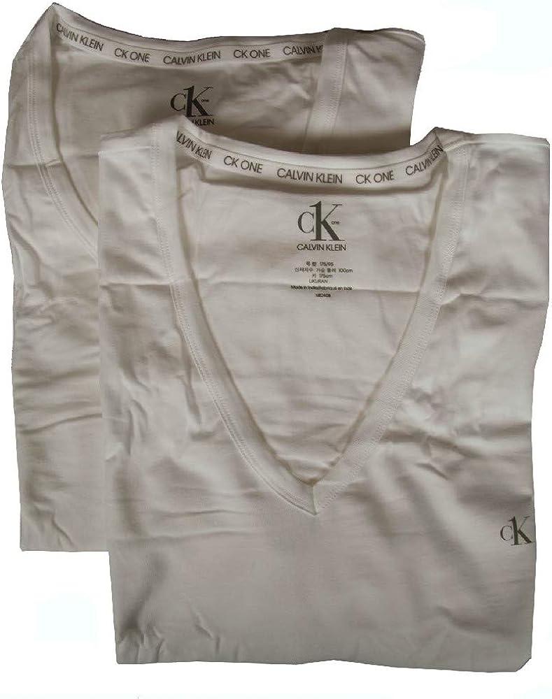 Calvin Klein CK Una Camiseta De Manga Corta V-Cuello 2-Pack, Negro: Amazon.es: Ropa y accesorios