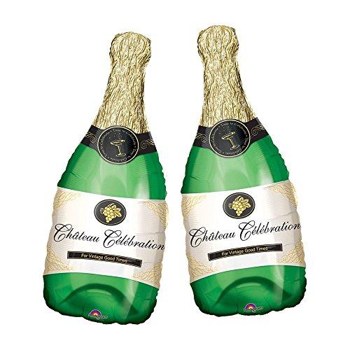 Set of 2 Green Champagne Bottle Jumbo 36