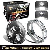 "7"" 7inch Round Black LED Headlights Hi/Lo Beam White Lights + Mounting Bracket For Harley Davidsion Yamaha Road Star V Star Chief Classic Springfield (2PCS)"