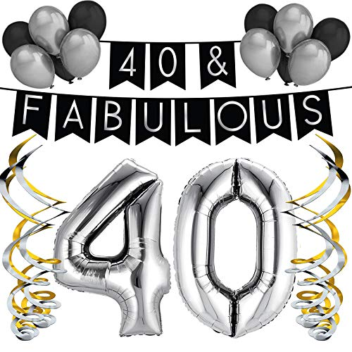 Sterling James Co. 40 & Fabulous Birthday Party Pack - Black & Silver Happy Birthday Bunting, Balloon, and Swirls Pack- Birthday Decorations - 40th Birthday Party Supplies ()