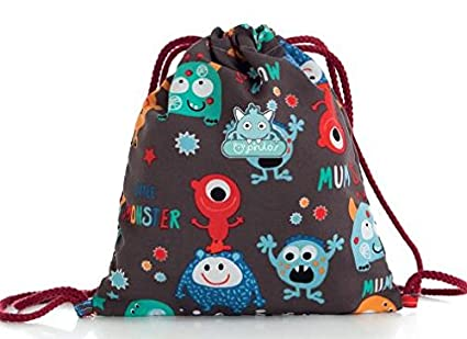 Pirulos 48030620 - Bolsa merienda, diseño monsters, 26 x 23 cm, color blanco y gris