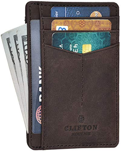 RFID Front Pocket Slim Wallets- Genuine Leather Handmade Minimalist Credit Card Holder By Clifton Heritage