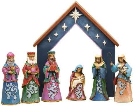 Jim Shore for Enesco 7-Piece Heartwood Creek Nativity Set Figurine, Mini