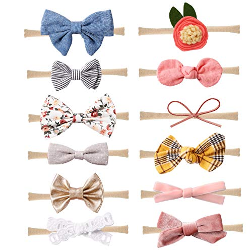 Baby Girl Headbands and Bows Nylon Hairbands Hair Bow Accessories for Newborn Infant Toddler Girls (Bows-C-12PCS)