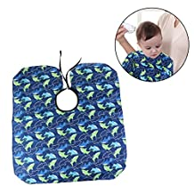 Tinksky Salon Hair Cut Hairdressing Barbers Cape Gown Sea Fish Patterned Waterproof Barber Styling Cloak for Kids