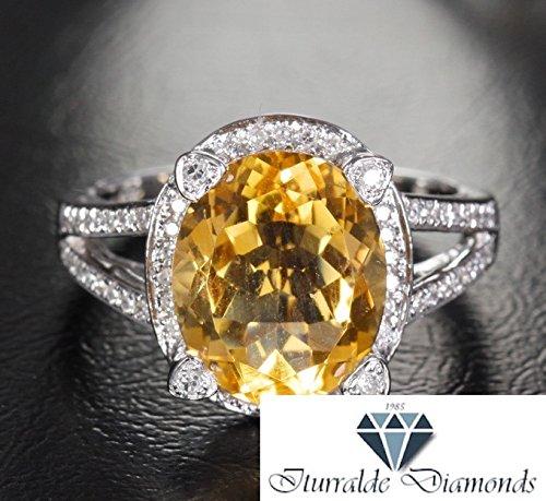 - 14k Oval Cut Citrine Antique Filigree Band Diamond Pave Halo Engagement Ring