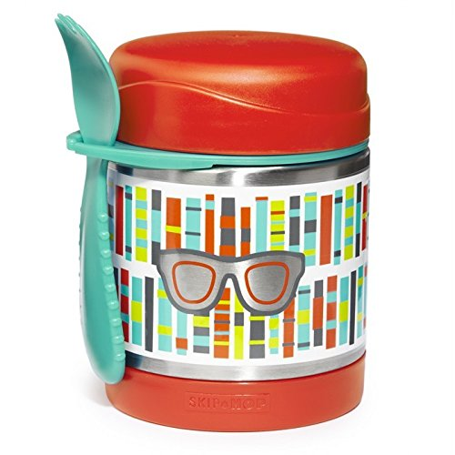 Skip Hop Forget Me Not Big Kid Mealtime Stainless Steel Insulated Food Jar and Spork Set, Multi, Spectacles