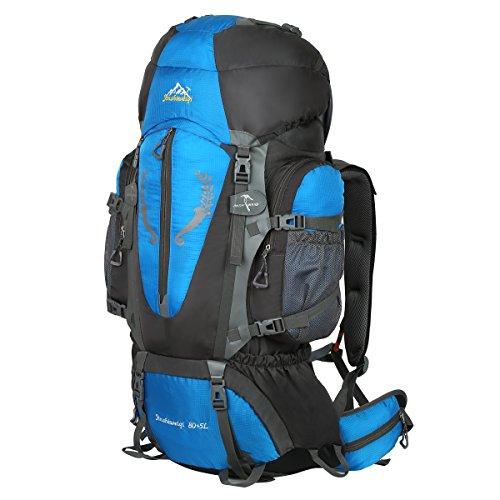 920b84b11f82 HWJIANFENG Backpack for Outdoor Sports Hiking Traveling Trekking Camping  Waterproof Mountaineering Ultralarge Capacity Internal Frame Men Women 80L+5L  Blue ...