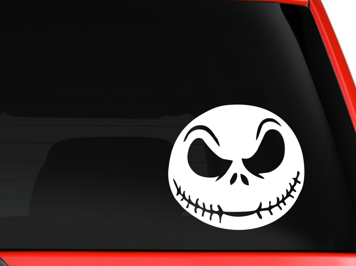 Jack Skellington scary face nightmare before christmas halloween decoration for car truck SUV macbook mac air toolbox decal sticker approx. 6 inches white