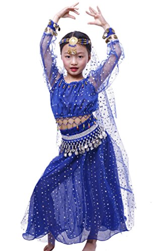 Mens Belly Dance Costumes (Astage Girl`sElegant Belly Dance Set Siver Waist Chain Dark Blue L)