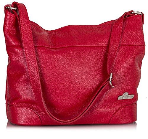 Big Handbag Shop Bolso de tela de piel auténtica para mujer Talla única Red