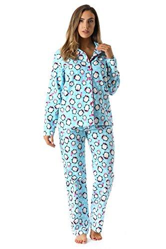 6371-10226-L FollowMe Printed Flannel Button Front PJ Pant Set, Large, Cool Penguin