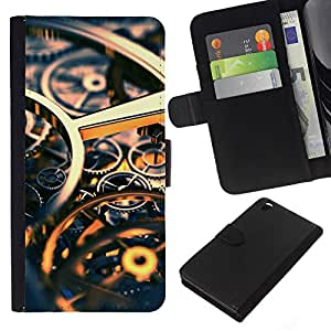 KingStore / Leather Etui en cuir / HTC DESIRE 816 / Ingeniería Reloj Tiempo Oro Engranajes