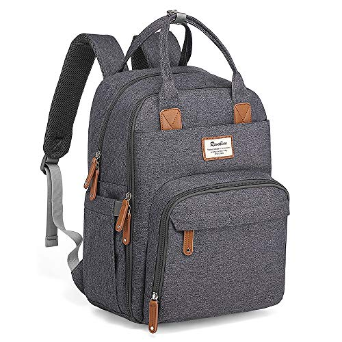 Diaper Bag Backpack, RUVALINO Large Multifunction Travel Back Pack Maternity Baby Nappy Changing Bags, Large Capacity, Waterproof and Stylish (Dark Gray) (Best Travel Diaper Backpack)