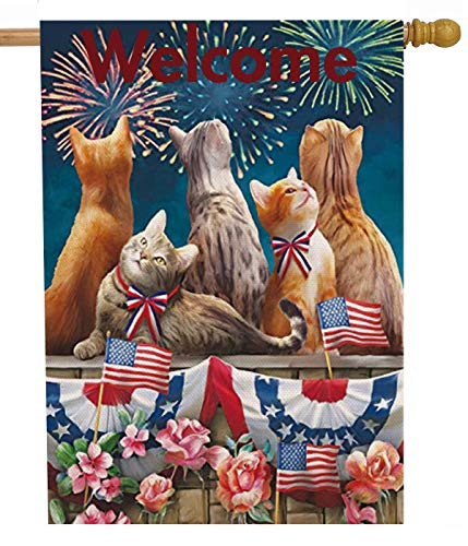 Selmad Welcome July 4th Patriotic Cat House Flag Double Sided, Firework Flower Quote Burlap Garden Yard Decoration, Holiday Red White Blue Seasonal Outdoor Vintage Décor Decorative Summer Large Flag