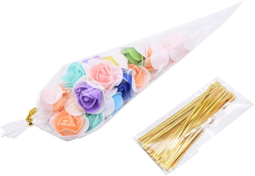 SUNSHINETEK Clear Sweet Cone Bags and Ties 200 Pcs Transparent Sweet Treat Bolsas de celof/án para Dulces Fiesta de Regalos Festivales de cumplea/ños de Boda