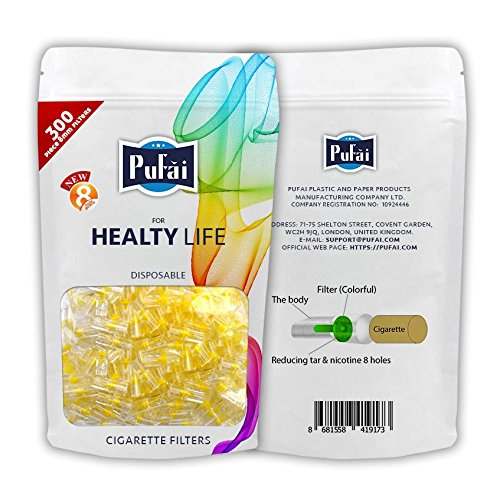 Cigarette filters. 300 piece ( 1 reusable pack 300 filters) disposable regular size [8 mm] cigarette filters holder. New 8 hole strong filtration system by Pufai