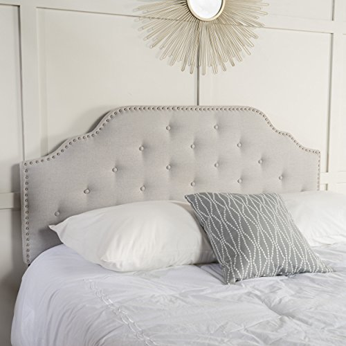 Christopher Knight Home 298920 Soleil Queen/Full Headboard, Gray (Fabric Headboard)