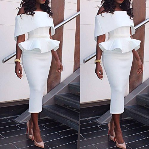 Peplum Bodycon Shoulder Women's Ruffles Party BessWedding White Clubwear Dress Off qwCO4p1S
