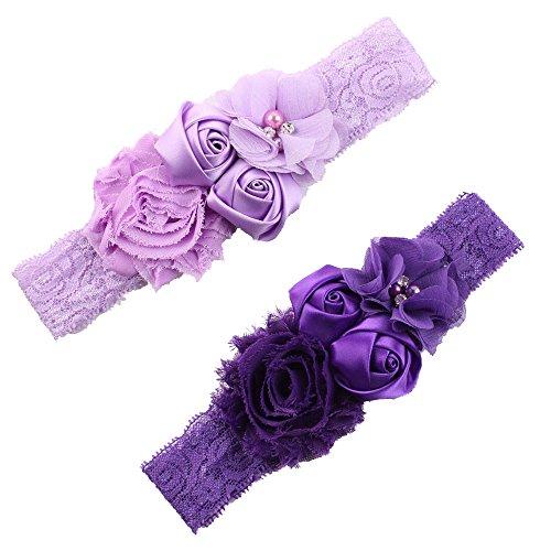 Ever Fairy Chiffon Lace Flower Baby Girls Turban Headband Head Wrap With (Dark Purple Flower)
