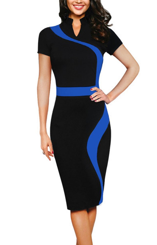 REPHYLLIS Women Elegant Wear to Work Casual Cocktail Evening Party Summer Business Pencil Dress Blue L