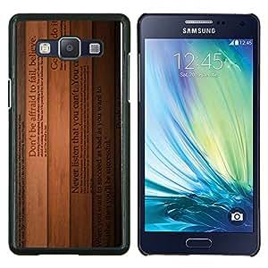 EJOOY---Cubierta de la caja de protección para la piel dura ** Samsung Galaxy A5 A5000 ** --Crea líneas de texto Libros Inspiring Madera