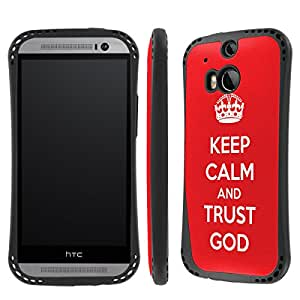 NakedShield HTC One (M8) Keep Calm and Trust God Heavy Duty Shock Impact Armor Art Phone Case