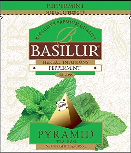 Basilur | 100% Pure Peppermint Tea | Herbal Infusion | Pyramid Tea Bags | Biodegradable Luxury Tea bags | For Hotels, Restaurants, Cafes and Tea lovers | Ultra-Premium Tea Sachets in Box (Pack of 50) by Basilur
