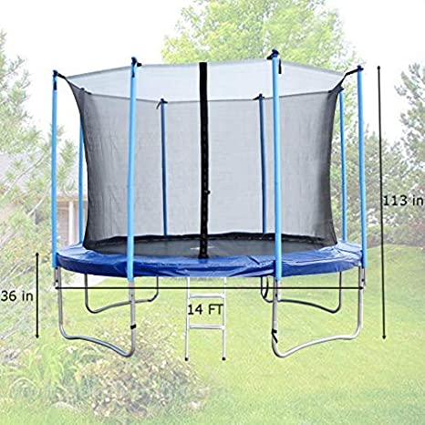 Amazon.com: 14 ft Ronda trampolín con escalera Enclosure ...