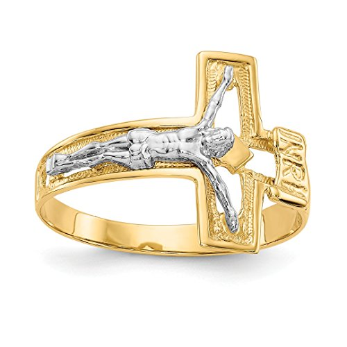 ICE CARATS 14kt Two Tone Yellow Gold Crucifix Cross Religious Mens Band Ring Size 10.00 Man Fine Jewelry Dad Mens Gift Set 14kt Gold Crucifix Ring