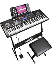 RockJam 61 keyboard piano set 61 sleutels digitale piano keyboardbank keyboardstandaard hoofdtelefoon sustain-pedaal en eenvoudige piano toepassing