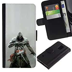 Protector de cuero de la PU de la cubierta del estilo de la carpeta del tirón BY RAYDREAMMM - Samsung Galaxy S5 V SM-G900 - Asesinos Samurai