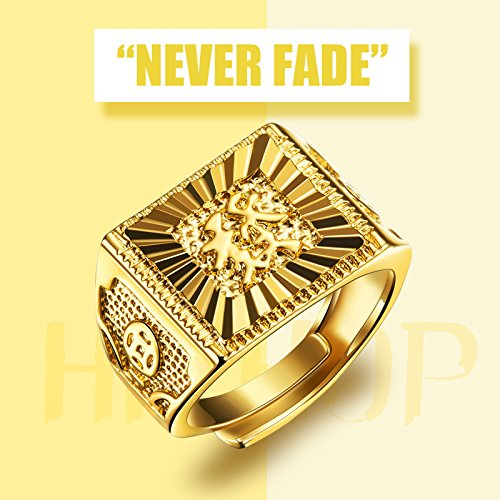 Men 39 s gold ring 18k gold plated luxurious shiny do not for Does gold plated jewelry fade