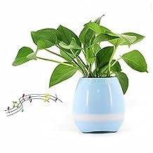 GENENIC Plant Pots,Wireless Bluetooth Speaker Smart Music Playing Flowerpot with Night Light (Blue)