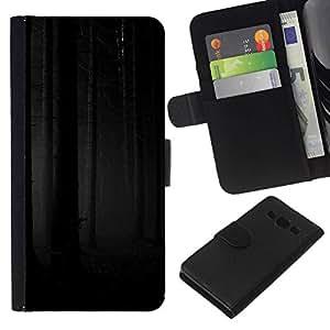All Phone Most Case / Oferta Especial Cáscara Funda de cuero Monedero Cubierta de proteccion Caso / Wallet Case for Samsung Galaxy A3 // Forest Woods Grey Black Scary