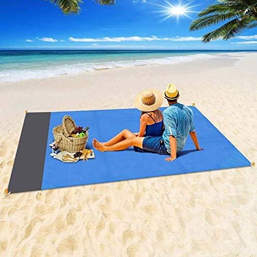 WETERS Coperta da Picnic, Portatile Pieghevole Beach Mat, Impermeabile Prova della Sabbia Beach Blanket Camping Ground Mat, Campeggio Esterno della stuoia di Picnic Coperta,Blu