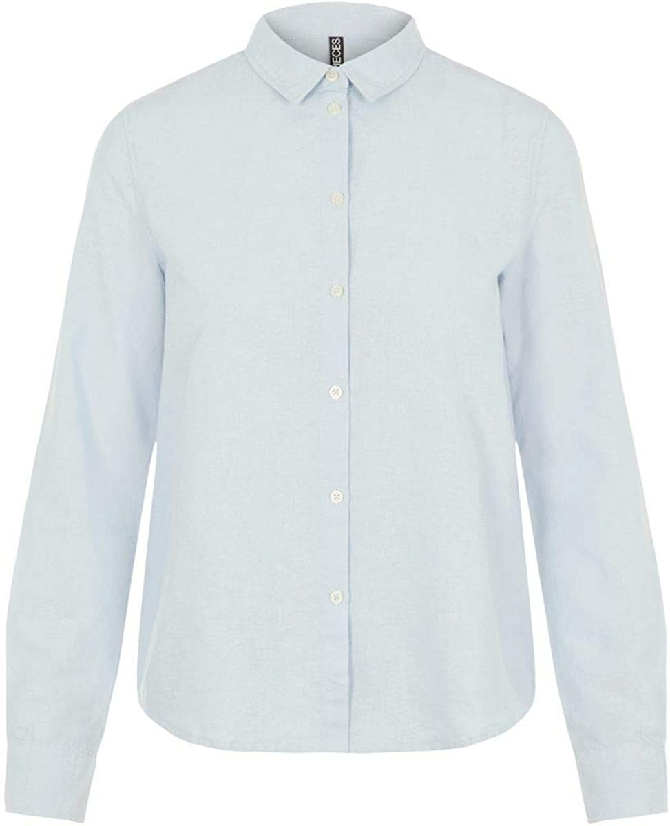 PIECES Pcirena LS Oxford Shirt Noos Blusa para Mujer