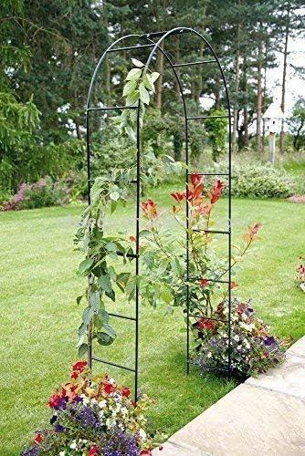 Garden Mile Grande 2.4m Negro De Metal Jardín Arco Resistente Fuerte Tubular Arbour Para Rosas escalada plantas Soporte Arcada Decoración Jardín: Amazon.es: Jardín