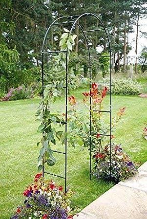 Garden Mile Grand 2 4m Noir Metal Jardin Arche Resistant Solide Tubulaire Tonnelle Pour Roses Plantes Grimpantes Soutien Voute D Entree Decoration De