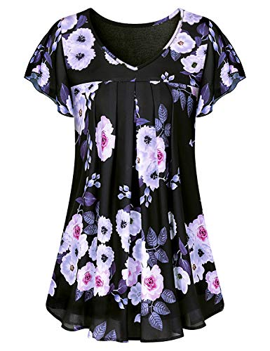 Double Layer Tunic - Luranee Hawaiian Shirts for Women, Casual Juniors Tops Short Sleeve Chiffon Blouses V Neck Trapeze Tunics to Wear with Leggings Soft Light Comfy Swing Floral Double Layers Summer Clothes Large