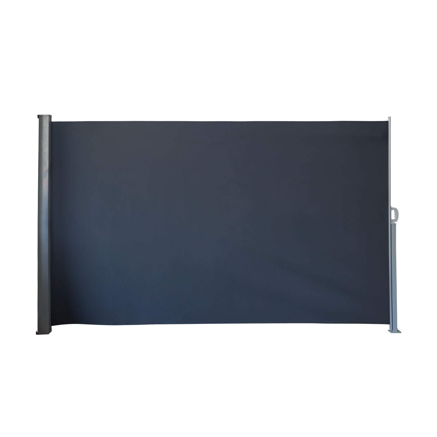 Kinbor 9.8'x5.9' Outdoor Retractable Folding Side Awning Patio Waterproof Sun Shade Garden Wind Privacy Screen Divider Aluminum Support Pole Black