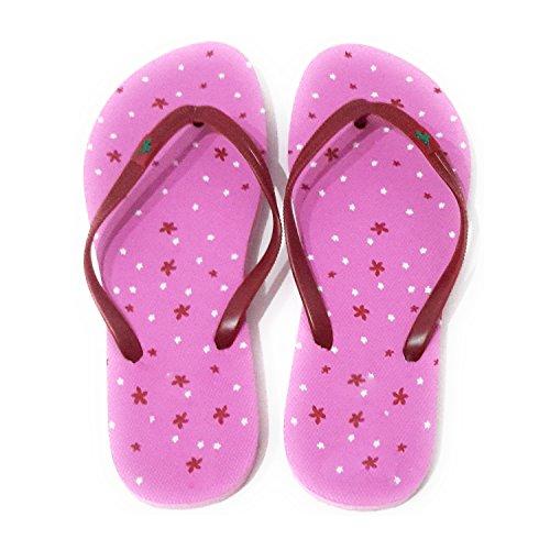 Playa Colores Verano de Mini Rosa Modelos Flores Piscina Mujer y Suela y Burdeos Correa Varios Chanclas T1ftxzT
