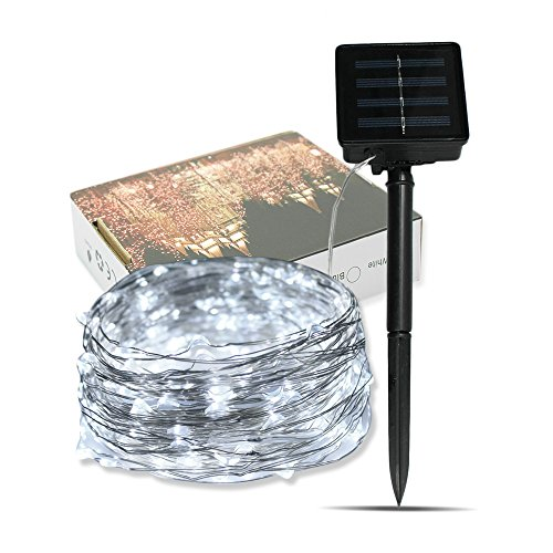 Solar Powered String Light Outdoor, TechCode LED String Lights Solar Waterproof Starry Fairy Lamp Decorative Copper Wire Lighting 10M 33ft for Garden Patio Gate Yard Party Wedding Indoor ()